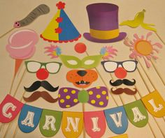 PDF - Circus / Carnival photo booth props/decorations/craft - printable DIY. $3.95, via Etsy.