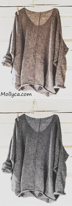 Buy 2 Got OFF Code: mollyca Casual Knitted Long Sleeve V neck Solid Blouse Fall Outfits, Fashion Outfits, Womens Fashion, Fashion Styles, Boho Fashion, Work Casual, Textiles, Long Sleeve Sweater, Beautiful Outfits