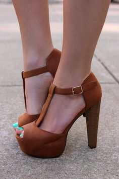 Hot..... Tan Platform Heel Brina-21