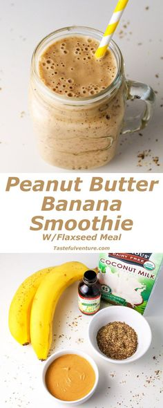 Peanut Butter Banana Smoothie (with Flaxseed Meal) - Tastefulventure - - This Peanut Butter Banana Smoothie has Omega since we added Flaxseed Meal, making for a healthy Dairy Free breakfast! Smoothies For Kids, Breakfast Smoothies, Healthy Smoothies, Healthy Drinks, Smoothie Recipes, Healthy Snacks, Healthy Juices, Smoothies With Flax Seed, Drink Recipes