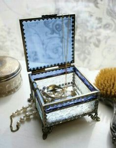 Blue Skies Footed Jewelry Box from Victorian Trading Co.