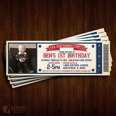 Baseball Theme 1st Birthday Invitation Ticket by JDavidProductions