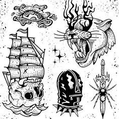 Traditional Tattoo Stencils, Traditional Tattoo Flash Art, Traditional Tattoo Sketches, Skull Tattoos, Black Tattoos, Tattoo Flash Sheet, Flash Art Tattoos, Traditional Tattoo Black And White, Traditional Tattoo Inspiration