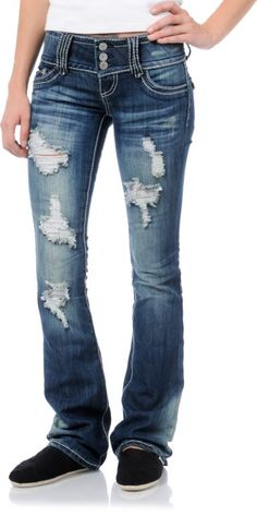 258281d5db8 Almost Famous Malorie Medium Blue Ripped Bootcut Jeans