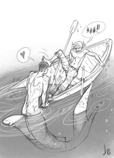 Fisherman Rin didn't actually intend to befriend giant merman Sousuke.  Too bad for him, LOL ...   From Joanna Estep ...  Free! - Iwatobi Swim Club, free!, iwatobi, rin matsuoka, matsuoka, rin, sosuke, sosuke yamazaki, yamazaki, sosouke, sosouke yamazaki, merman
