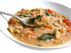 Skinny Thai Peanut Chicken Soup. It's  delicious!!! The peanut butter is not overwhelming, but gives this soup a depth and richness. Each main course serving, 228 calories, 11g fat & 6 Weight Watchers POINTS PLUS. http://www.skinnykitchen.com/recipes/skinny-thai-peanut-chicken-soup/