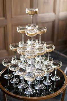 champagne tower | photo by Ashley Ludaescher | styling by Love Circus