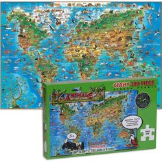 Put this illustrated world animal giant floor puzzle together and learn about geography and animals around the world! Manufactured by GeoToys.