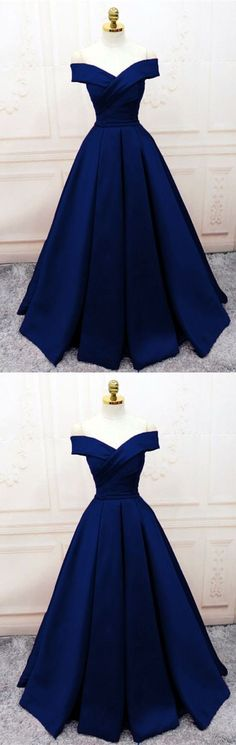 Navy Blue Satin V-neck Off Shoulder Prom Dresses Long Evening Gowns - Vestidos -. - Navy Blue Satin V-neck Off Shoulder Prom Dresses Long Evening Gowns – Vestidos – Source by kleidses - Cute Prom Dresses, Trendy Dresses, Ball Dresses, Elegant Dresses, Homecoming Dresses, Fashion Dresses, Dress Outfits, Dress Prom, Ball Gowns