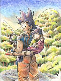 """Baby on Board"" by AnnouncerGuy.deviantart.com . Son Goku and Gohan, out to search for the Dragon Balls. #fanart Dragon Ball Z (DBZ)"