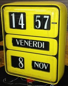 Rare yellow french Flip Clock Horloge Design Rollnumber clock flipping vintage made in 70s Klappzahlen Uhr france – We collect similar ones – Only/Once – www.onlyonceshop.com