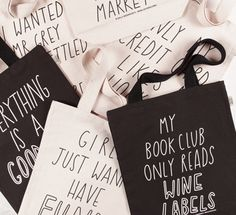 Fair trade en ecologisch geprinte tassen, met een originele tekst! Hoe leuk!