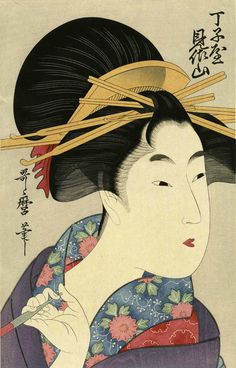 "Very lovely UTAMARO ukiyo-e Japanese woodblock print ""BEAUTY HOLDING A PIPE"" | eBay"