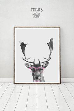 Deer Print Deer Photography Deer Art Black by PrintsMiuusStudio
