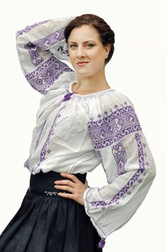 Romanian traditional blouse with purple by EndangeredWear on Etsy, $125.00