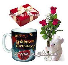 Send Red Roses In Vase With Bear Chocolate Birthday Mug To Bangladesh