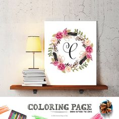 Letter C Baby Nursery Art Floral Wreath Monogram by coloringpage