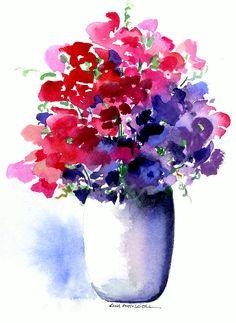 Sweet peas, watercolor by Kim Attwooll