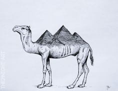 Rare Unique Animals by: The21Night  -Pyracamel  ►https://www.behance.net/the21night   #Illustration #Art #Camel #Drawing #Surrealism #Gizapyramids #Egipt #Animals #Arquitecture