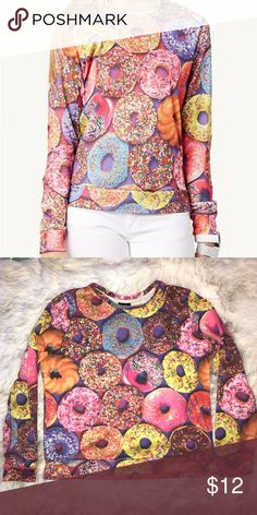 Doughnut Crew Neck Sweatshirt/Sweater Such a dope jacket  Only bought it for a costume  Great condition so comfortable  Can be worn by any size with leggings or jeans so cute oversized or can be fit like the models wearing Rue 21 Sweaters Crew & Scoop Necks