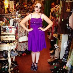 Jaqueline scored this cute purple dress for just $16 and these 1970's purple platform wedges today and loved them so much, she wore them out of the shop!!