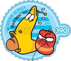 Korean-Made Characters Series Stamps (4th), lava, Korean Character, Character, Story, Red, Yellow, Orange, Sky blue, 2014 02 28, 한국의 캐릭터 시리즈우표(네 번째 묶음), 2014년 2월 28일, 2971, 라바(옐로우와 레드2), postage 우표
