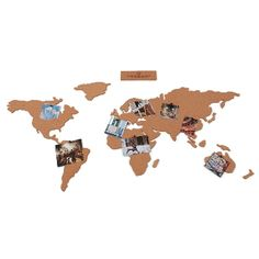 The cork board map is a beautiful self adhesive map of the world made from cork.  -You can build your world as you see it -Comes packed in a lovely natural card box -Includes 16 x self adhesive map pieces -Includes 16 map pins