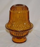 Vintage Indiana Glass Amber Diamond Point Tiara Hurricane Fairy Lamp | eBay
