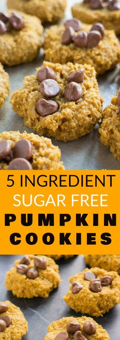 HEALTHY SUGAR FREE Pumpkin Cookies! These Pumpkin Oatmeal Cookies only need 5 ingredients! This easy recipe makes the best soft cookies that everyone will love! Make sure to add chocolate chips on top to make them extra delicious!