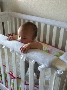 Crib teething rail.  Great idea at http://simplyabs.wordpress.com/2013/04/01/easy-diy-crib-teething-guard/ but I modified to cushion the rails using pipe insulation as seen on tutorials for baby-proofing sharp edges.
