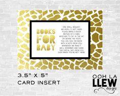 Gold Safari Bring A Book Card, Gold Safari Baby Shower, Safari Baby Shower, Gold Safari Bring A Book, Gold Safari Book Insert, Safari by OohLaLlew on Etsy