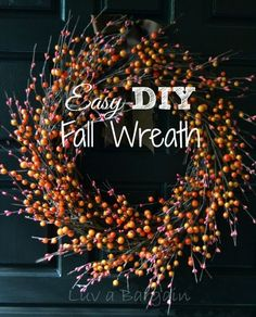 Easy DIY Fall Wreath - Fall is in the air! Bring a little Fall color to your door with this simple sweet wreath.: