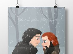 Fanart for one of my favorite pairs in Game of Thrones, Jon Snow and Ygritte.