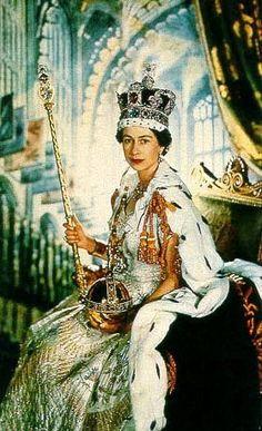 Photo of Queen Elizabeth II at her Coronation for fans of Kings and Queens. Queen Elizabeth II of The United Kingdom at her coronation on June 2, 1953.