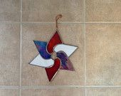 Handmade Stained Glass Star Panel