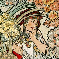 Mucha ceramic decals, Alphonse Mucha, art nouveau ceramic decals, image transfers, Mucha, flowers, decals glass, decals ceramics, enameling door StainedGlassElements op Etsy