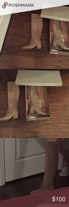 Franco Sarto over the knee suede boots Never been worn mushroom color suede over the knee boots size 7  1/2-still has the receipt-price tag Franco Sarto Shoes Over the Knee Boots