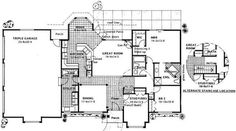 This appealing Ranch style home with Contemporary design characteristics (Plan #177-1035) has over 1700 square feet of heated and cooled living space. #houseplan #floorplan Ranch House Plans, Best House Plans, Country House Plans, Mediterranean House Plans, Mediterranean Design, Stair Detail, Elevation Plan, Ranch Style Homes, New Home Designs