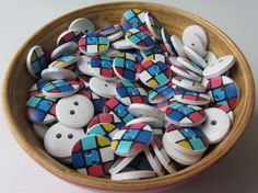 Mondriaan geometrical colorful 11 mm wooden buttons  set of ten buttons nr. 89 by SilksByUmf on Etsy