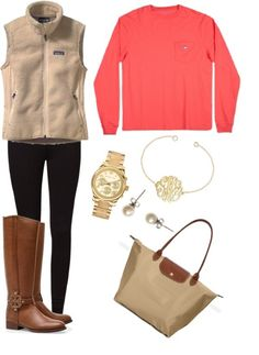 A fashion look from March 2013 featuring patagonia vest, black leggings and riding boots. Browse and shop related looks. Preppy Outfits, Preppy Style, Style Me, Cute Outfits, Preppy Fall, Preppy Casual, Fall Winter Outfits, Autumn Winter Fashion, Winter Vest