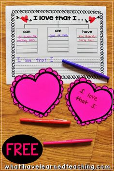 A fun Valentine's Day activity where students share what they love about themselves. Create an anchor table in your classroom, have students use the FREE Graphic Organizer, and then create a heart with their favorite attributes. Kindergarten Writing, Writing Activities, Classroom Activities, Literacy, Classroom Ideas, Diversity Activities, Seasonal Classrooms, Classroom Freebies, Youth Activities
