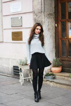 Turtleneck and skirt.