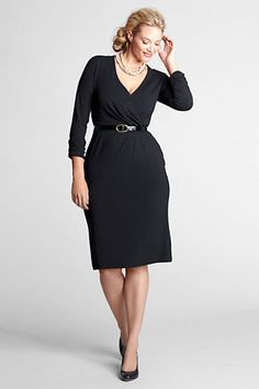 Women's Plus Size Long Sleeve Faux Wrap Dress from Lands' End