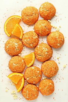 Orange Cookies are soft, cake-like cookies with a crunchy sugar crust and creamy white chocolate chips. Microwave Vegetables, Mini Chips, Orange Cookies, White Chocolate Chips, Creamy White, Sweet Treats, Snack Recipes, Sugar, Care Packages