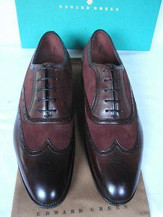 730c214c2085 Edward Green FROME III Burgundy Calf Leather   Suede Lace Up Shoes Chaussure
