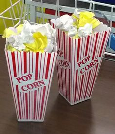 popcorn writing activity: students choose one yellow piece (character) and one white piece (setting) and write a short story