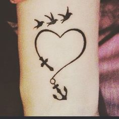 #new #ink #tattoo #tat #loveit #no #pain #no #gain #anchor #cross #birds #heart…