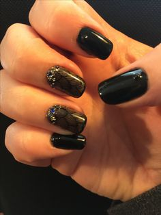 OPI Black Onyx. Sally Hansen Big Smokey stamped with UC 1-02 and MdU Black. Mix of caviar and gems. Inspired by MyNailArtDesign.