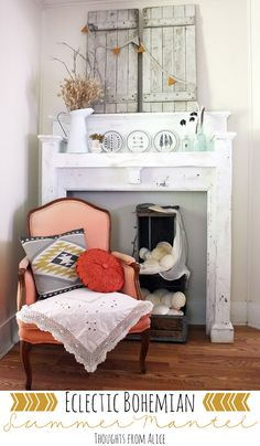 Thoughts from Alice: Eclectic Bohemian Summer Mantel