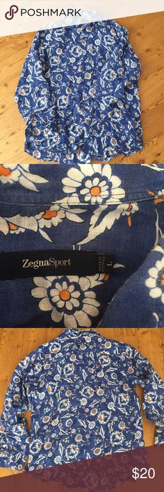 Zegna Sport men long sleeves flower shirt Sz Large Pre Owned condition without holes or stains, long sleeves, Sz Large. Beautiful vibrant blue with flower prints. zegna sport Shirts Casual Button Down Shirts